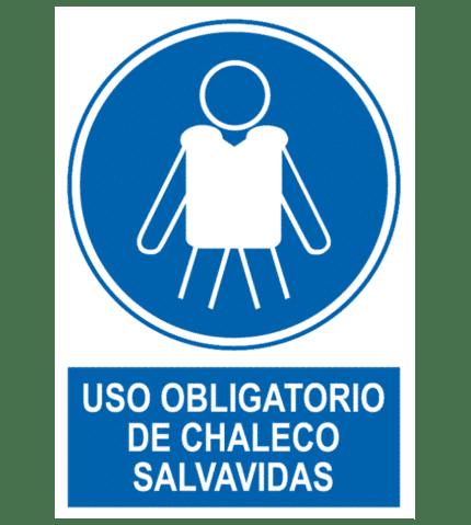 Señal / Cartel de Uso obligatorio de chaleco salvavidas