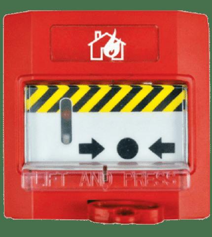 Pulsador rearmable de alarma con tapa