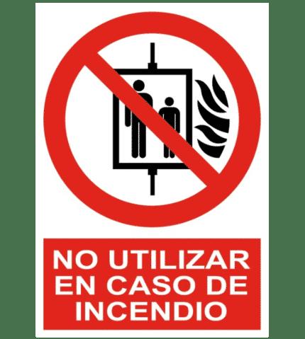 Señal / Cartel de No utilizar ascensor en caso incendio
