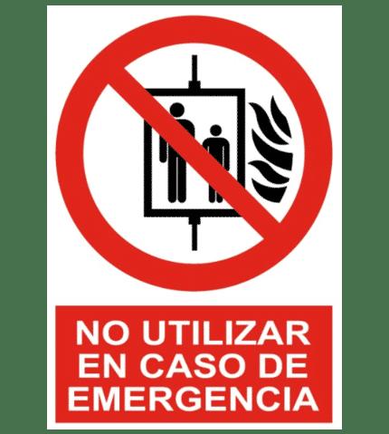 Señal / Cartel de No utilizar ascensor en caso emergencia