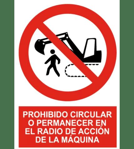 Señal de Prohibido circular permanecer radio máquina