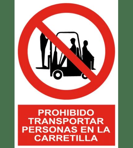 Señal de Prohibido transportar personas en la carretilla