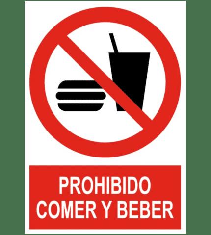 Señal / Cartel de Prohibido comber y beber