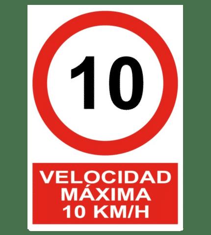 Señal / Cartel de Velocidad máxima 10 Km/h