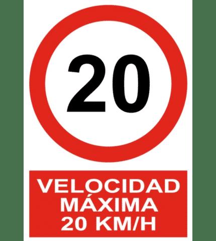Señal / Cartel de Velocidad máxima 20 Km/h