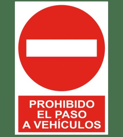 Señal / Cartel de Prohibido el paso a vehículos