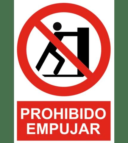 Señal / Cartel de Prohibido empujar
