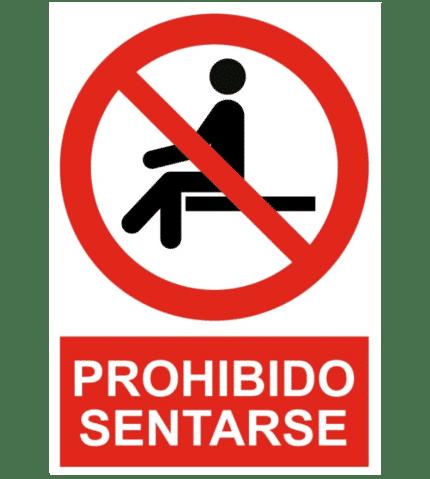 Señal / Cartel de Prohibido sentarse