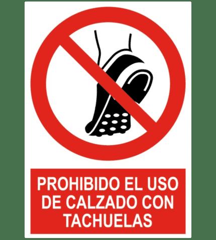 Señal / Cartel de Prohibido uso calzado con tachuelas