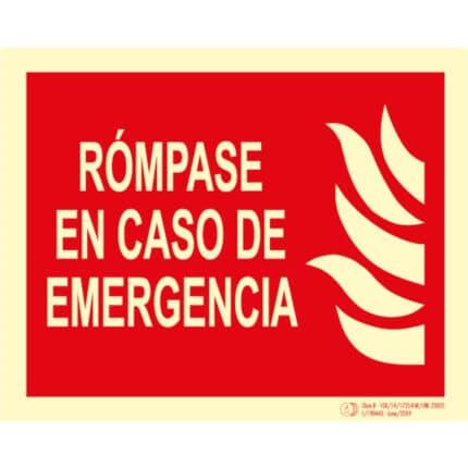 Señal / Cartel de Rómpase en caso de emergencia