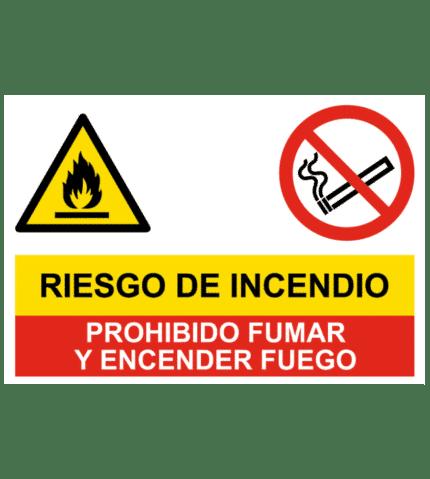Señal de Riesgo incendio y prohibido fumar y fuego