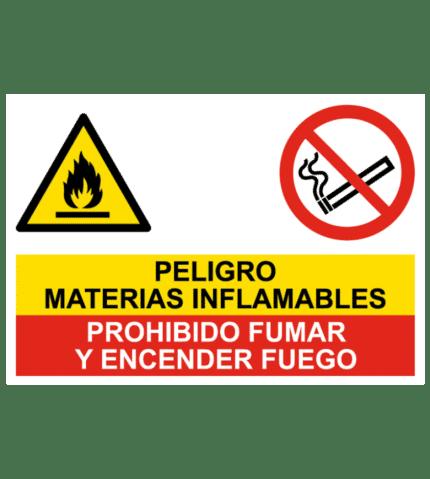 Señal de Peligro inflamables y prohibido fumar y fuego