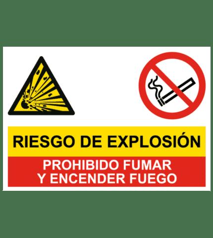 Señal de Riesgo de explosión y prohibido fumar y fuego