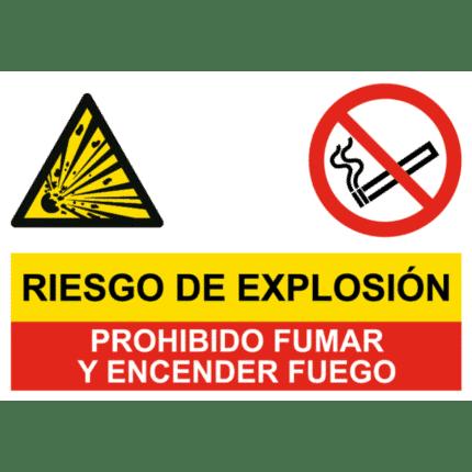 Señal de Peligro explosivas y prohibido fumar y fuego