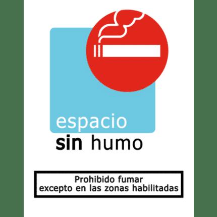Señal de Prohibido fumar excepto zonas habilitadas