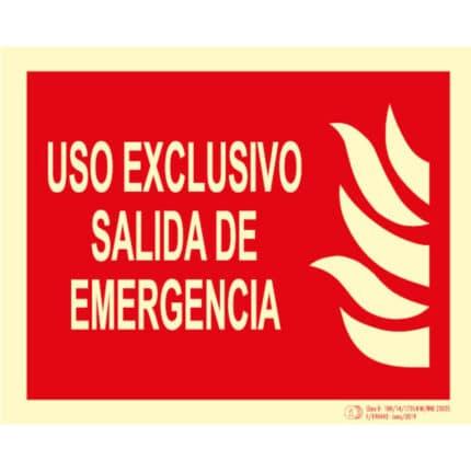 Señal / Cartel Uso exclusivo salida emergencia. Clase B