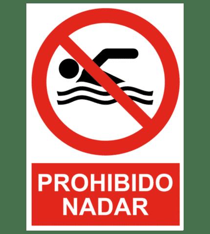 Señal / Cartel de Prohibido nadar