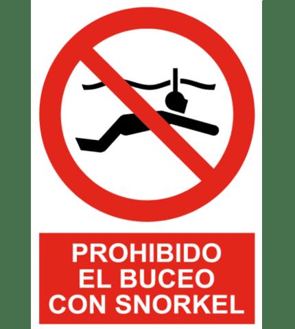 Señal / Cartel de Prohibido el buceo con snorkel