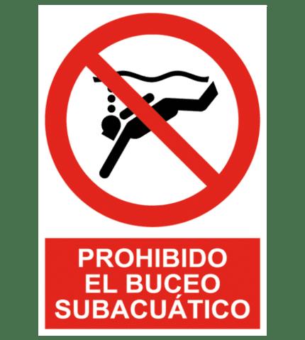 Señal / Cartel de Prohibido el buceo subacuático