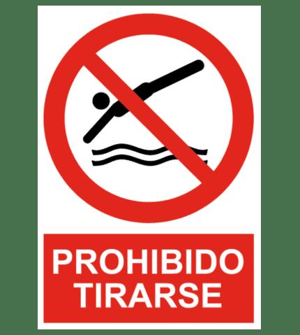 Señal / Cartel de Prohibido tirarse