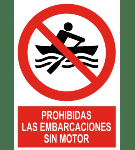 Señal / Cartel de Prohibidas las embarcaciones sin motor