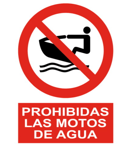 Señal / Cartel de Prohibidas las motos de agua
