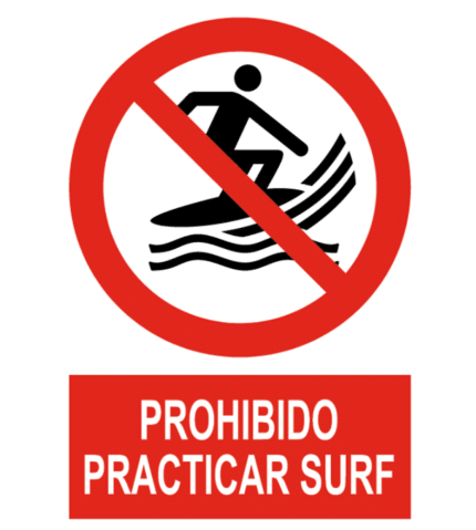 Señal / Cartel de Prohibido practicar surf