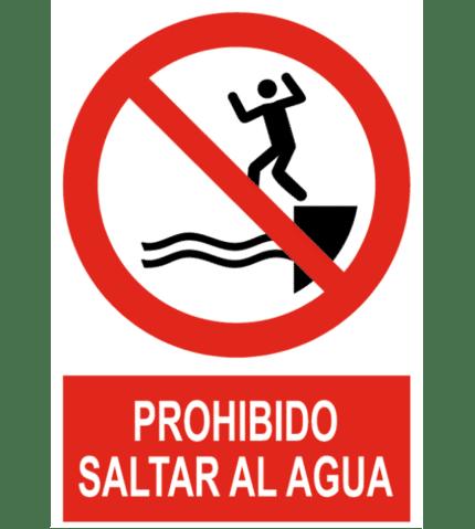 Señal / Cartel de Prohibido saltar al agua