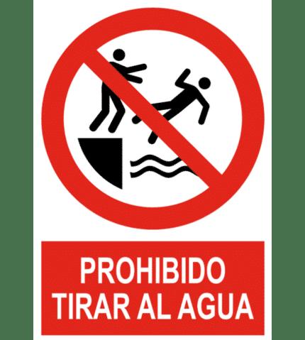 Señal / Cartel de Prohibido tirar al agua