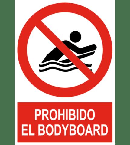 Señal / Cartel de Prohibido el bodyboard