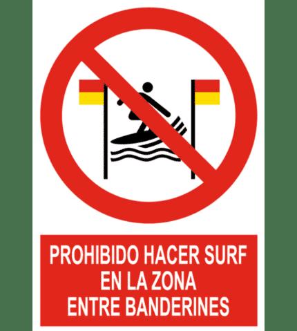 Señal / Cartel de Prohibido hacer surf entre banderines