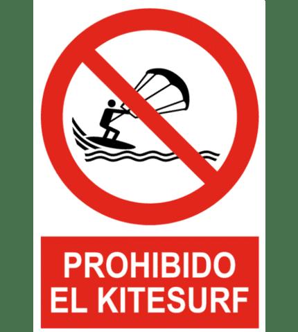 Señal / Cartel de Prohibido el kitesurf