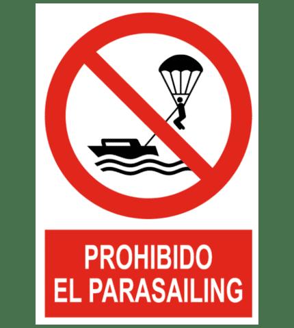 Señal / Cartel de Prohibido el parasailing