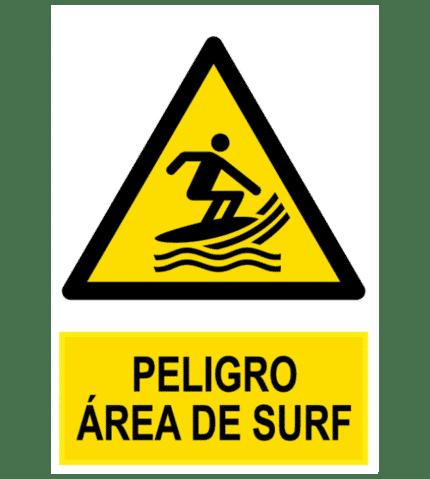 Señal / Cartel de Peligro área de surf