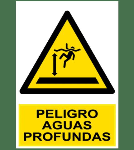 Señal / Cartel de Peligro aguas profundas