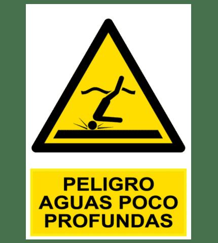 Señal / Cartel de Peligro aguas poco profundas