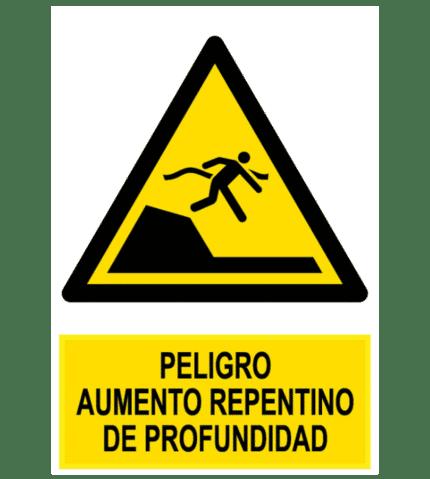 Señal / Cartel de Peligro aumento repentino profundidad