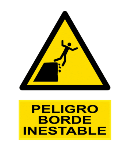 Señal / Cartel de Peligro borde inestable