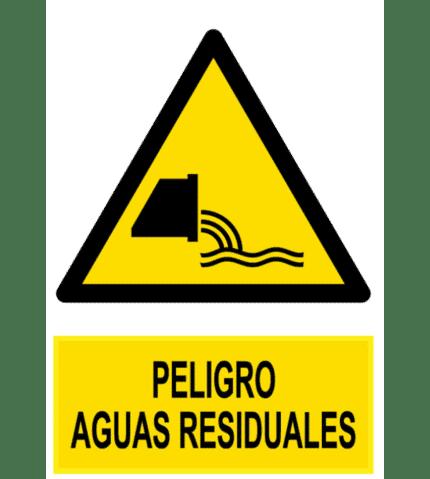 Señal / Cartel de Peligro aguas residuales