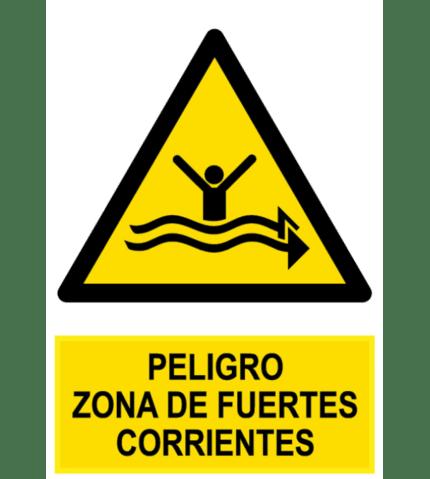 Señal / Cartel de Peligro zona fuertes corrientes