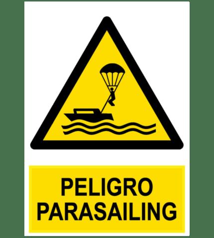 Señal / Cartel de Peligro parasailing