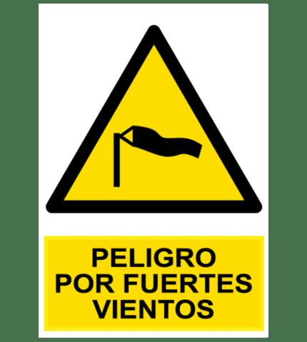 Señal / Cartel de Peligro por fuertes vientos