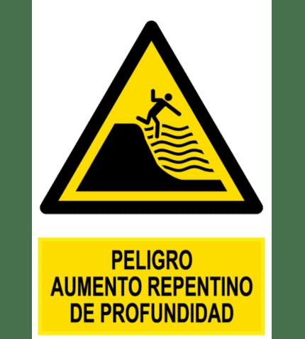 Señal / Cartel de Peligro aumento profundidad mar