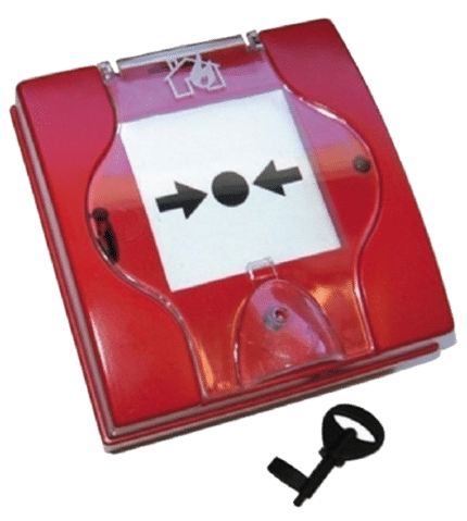 Pulsador de alarma de incendios rearmable. PSGC