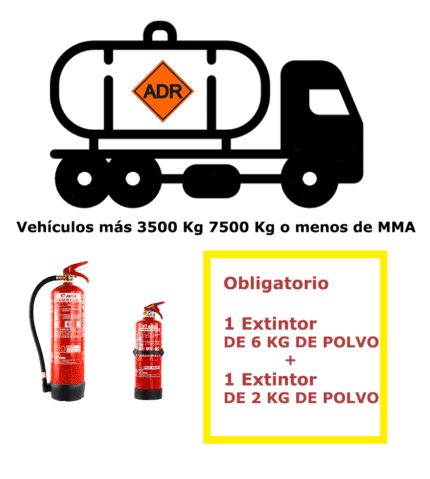 Pack extintores para vehículos mercancías peligrosas de más de 3500 Kg y menor o igual a 7500Kg