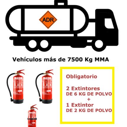 Pack extintores para vehículos de mercancías peligrosas de más de 7500 Kg MMA