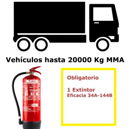 Pack de extintor para vehículos hasta 20000 Kg MMA