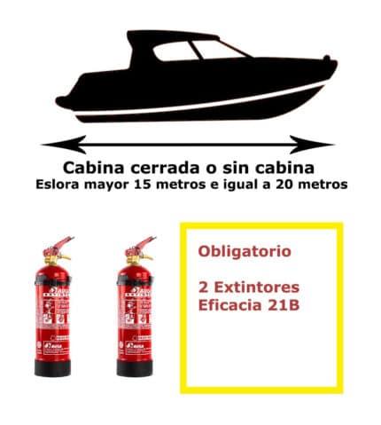 Pack de extintores para barco. Cabina cerrada o sin cabina. Eslora mayor de 15 metros e igual a 20 metros