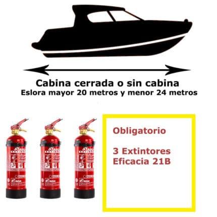 Pack de extintores para barco. Cabina cerrada o sin cabina. Eslora mayor de 20 metros y menor de 24 metros