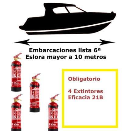 Pack de extintores para barco. Lista 6ª. Eslora mayor de 10 metros